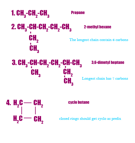 Iupac naming of hydrocarbons